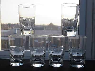 Vintage Beautiful Design Glass Whiskey Whisky Flat Tumblers Glasses Set Of 6