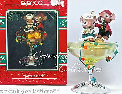 Enesco Mice Joyeux Noel Holiday Cheers Treasury of Christmas Ornament Champagne