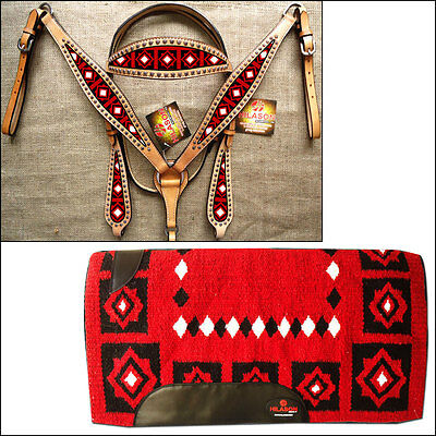 Hilason Western Leather Headstall Breast Collar Saddle Pad Blanket Tan Red