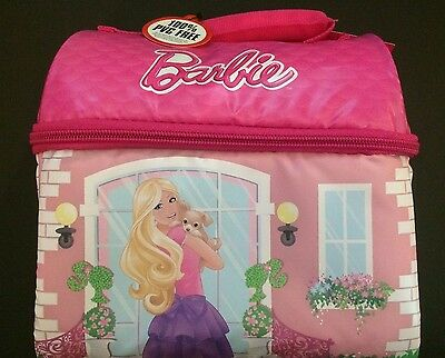 Barbie Doll House Shape Soft Insulated Lunch Box Bag Kit Thermos Brand Pink Girl