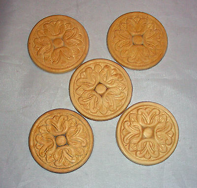LOT of 5 Birch Wood Embossed Applique 2 3/8""