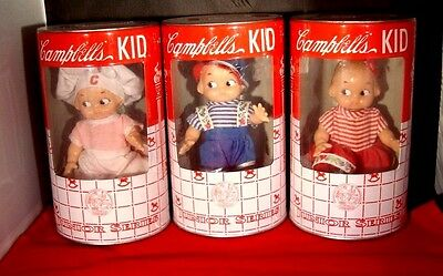 Campbell's Soup Kids Dolls set of 3 1998 In Metal Soup Can Bank NEW