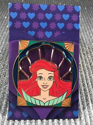 Disney Little Mermaid Ariel Stained Glass Royalty Reveal Conceal Mystery Pin New