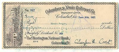 Columbus & Xenia Railroad Co. Check Ohio Stock Huntington National Bank