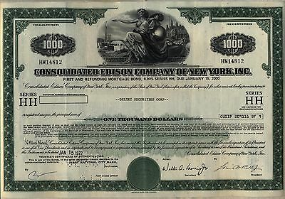 $1,000 Consolidated Edison Company of New York Bond Stock Certificate Con Ed