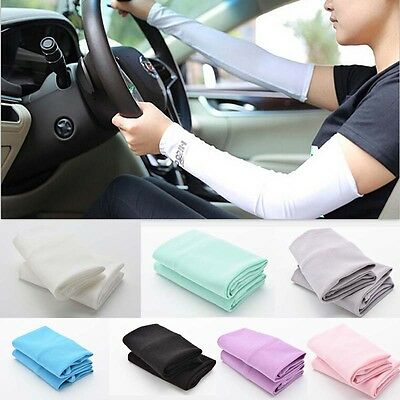 UV Sun Protection Arm Sleeves Stretch Cooling Sports Golf Running Covers LI