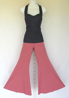 VINTAGE 1960s MOD RIGHT ON BY ESTIVO BELL BOTTOM PANTS SUIST SIZE 9/10 POLY