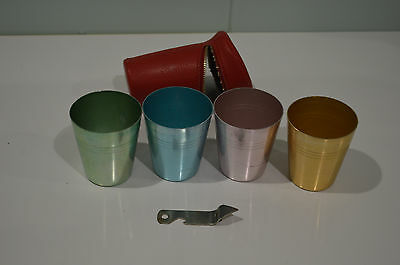 Set of 4 annodised picnic cups, very good condition, with case and bottle opener