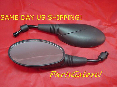 Black Oval Mirror Set, 8mm RH Thread, Motorcycle Scooter Moped