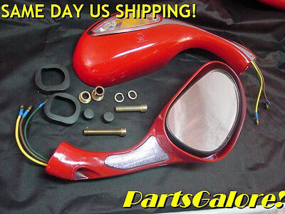 Red Lighted Mirrors Mirror Set Chinese 8mm CF250 50cc 125cc 150cc 250cc Scooter
