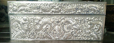 Chinese Export Silver- Jewellery Box with 12 embossed dragons c1863 (China)