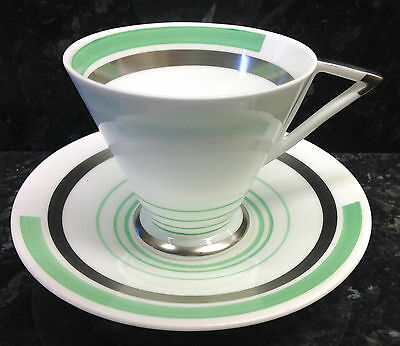 "Shelley Eve Shape ""Green & Silver Bands"" Pattern Coffee Cup & Saucer."