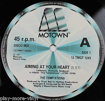 """THE TEMPTATIONS Aiming At Your Heart 12"""" vinyl UK 1981 Motown plays EX+!"""