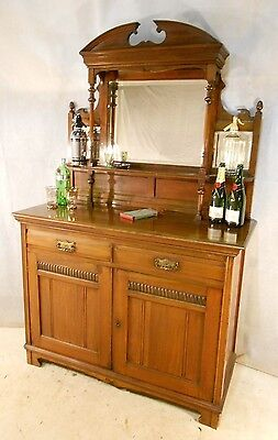 Antique Victorian Mahogany Mirror Back Sideboard Drinks Cabinet Cocktail Cabinet