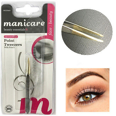 Point Tweezers Brows 24ct Gold Plated Manicare Japanese Stainless Steel Pouch