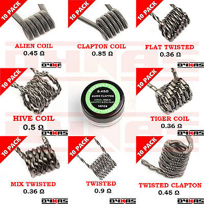 Ready Pre Made Wire Coils RTA RBA RDA Sub Ohm Kanthal  Built Alien Clapton Hiv