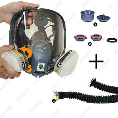 6800 Gas Mask Full Face Facepiece Respirator Sets 7Pcs Painting Spraying Dust