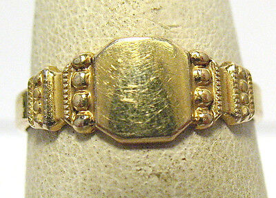 Antique 14K Rgp Signet Ring Size 5.5 Not Inscribed 6 Mm Wide
