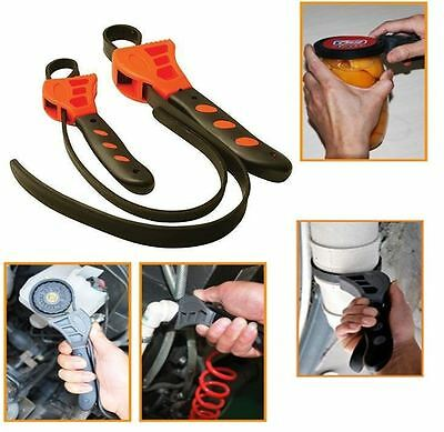 New 2 Piece Strap Wrench Set Gripping Loosening Tightening Jars Pulleys Pipes