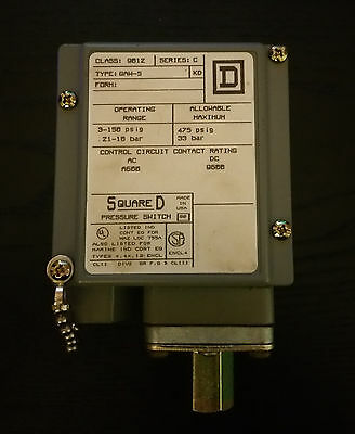 Square D 9012 GAW-5 Series C Adjustable Differential Pressure Switch 3-150 PSI