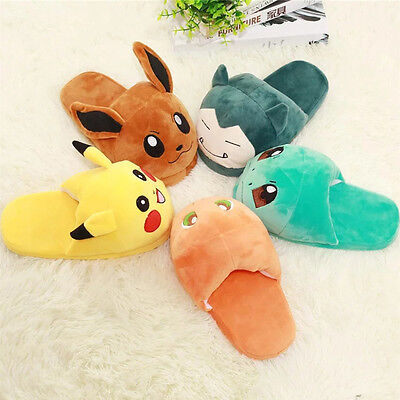 Pokemon Go Soft Plush Slippers Warm Hat Indoor Home Shoes Costume Gift