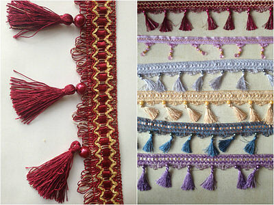 Large Tassel Beaded Fringing Trim For Curtain Craft Work 1 Yard