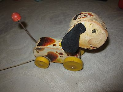 Vintage 1960s Fisher-Price Woofy Wagger dog pull toy #465, wood w felt ears