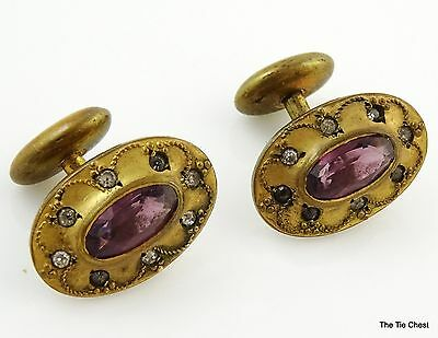 Antique Victorian Cufflinks Probably Womans Purple Stone Bean Back