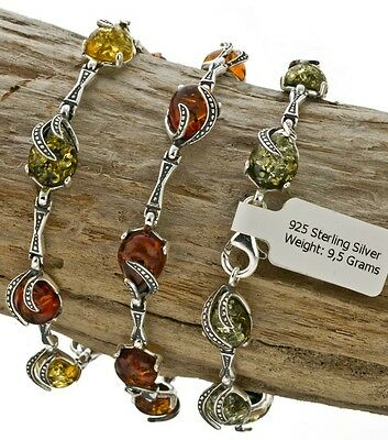 NATURAL BALTIC AMBER STERLING SILVER 925 BRACELET Cognac Green Coloure Certified