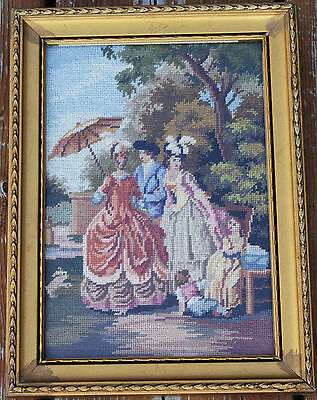 Small Gold Framed Needle Point/Stitched Cloth - Victorian Era Scene