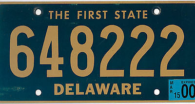 2000 Delaware The First State License Plate # 648 222 Triple 222 Bcplateman