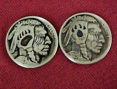 Bear Sign & Wolf Sign 2 Coin Lot Carved Hobo Nickel Folk Art Coin OHNS 1304