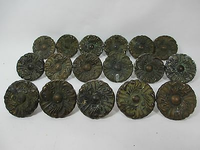 "17 Pc Vtg Aged Brass Tone 1-7/16"" Round Floral Leaf Drawer Pulls Heavy Patina"