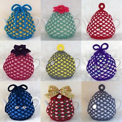 Hand Knitted Small Jacquard Tea Cosy / Cozy in Various Colours