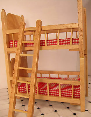 Dollhouse Furniture Bedroom Bunk Beds  Small Oak Wood Bunkbed