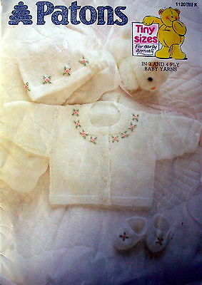 Patons Knitting Pattern Book - TINY SIZES - for early arrivals:Prem to 6 Mths