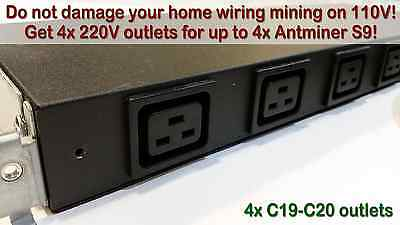 Do not mine on 110V! 5.2kW Four-Outlet PDU for Antminer S9 / R4 / S7