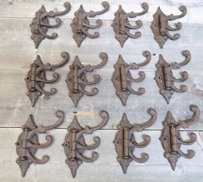 12 Cast Iron Antique Style SWIVEL Coat Hooks Hat Rack Tree Restoration Hardware