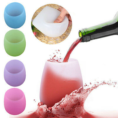 Silicone Wine Glass Unbreakable Stemless Rubber Beer Mug Outdoor Cup Glass Cup