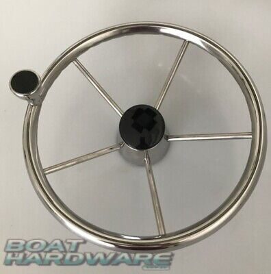 Boat Steering Wheel 5 Spoke Dished 340mm w/ Control Knob Marine Stainless Steel