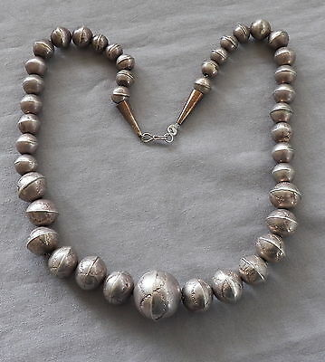 Old Vintage Navajo Silver Pearls Hand Stamped with Wonderful Patina