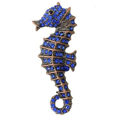 Sapphire Blue Seahorse Pin Brooch. Free Delivery