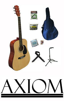 Axiom Beginners Guitar Pack - Full Full Size Steel String Guitar - Starter Kit