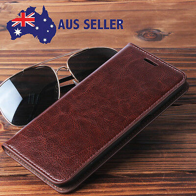 Genuine Real Leather Flip Wallet Case Cover For Samsung Galaxy S5 S6 S7/edge S8