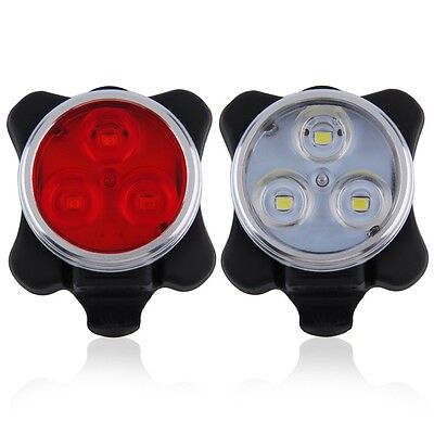 Bicycle Bike 3 LED 4 Modes Head Front Rear Tail Light Lamp USB Rechargeable I6