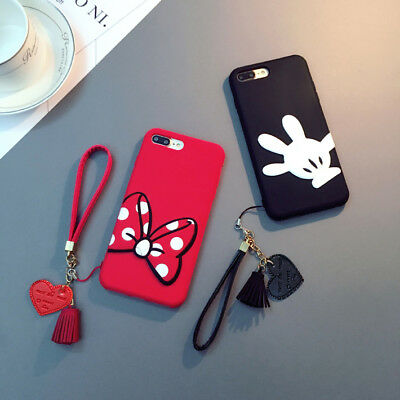 For Samsung S9 S8+ Note8 S6 S7 Mickey Minnie Soft Silicone Case Cover & Bracelet