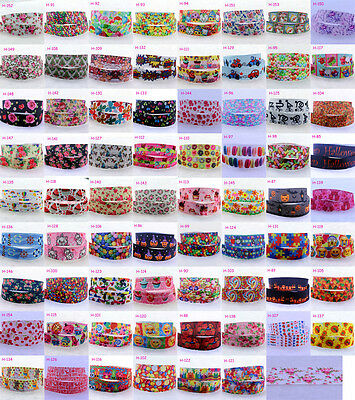 1/10yads 7/8''(22mm) Candy Flower Cartoon Grosgrain Ribbon DIY Hair Bow Crafts D