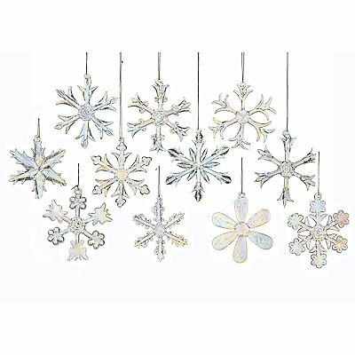 Snowflake Ornaments Glass Assorted Iridescent HolidayTree Winter Decor 12 Pc 2""