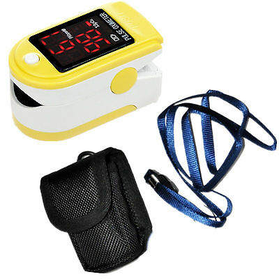 Pouch&Lanyard CE Finger Tip Pulse Oximeter Blood Oxygen Yellow SPO2 Monitor 50DL