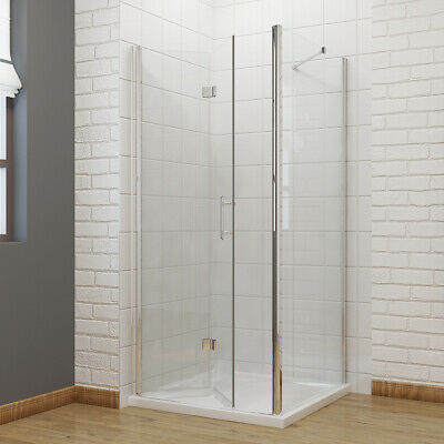 Bifold Door Frameless Shower Enclosure & Tray Bathroom Glass Screen Side Panel